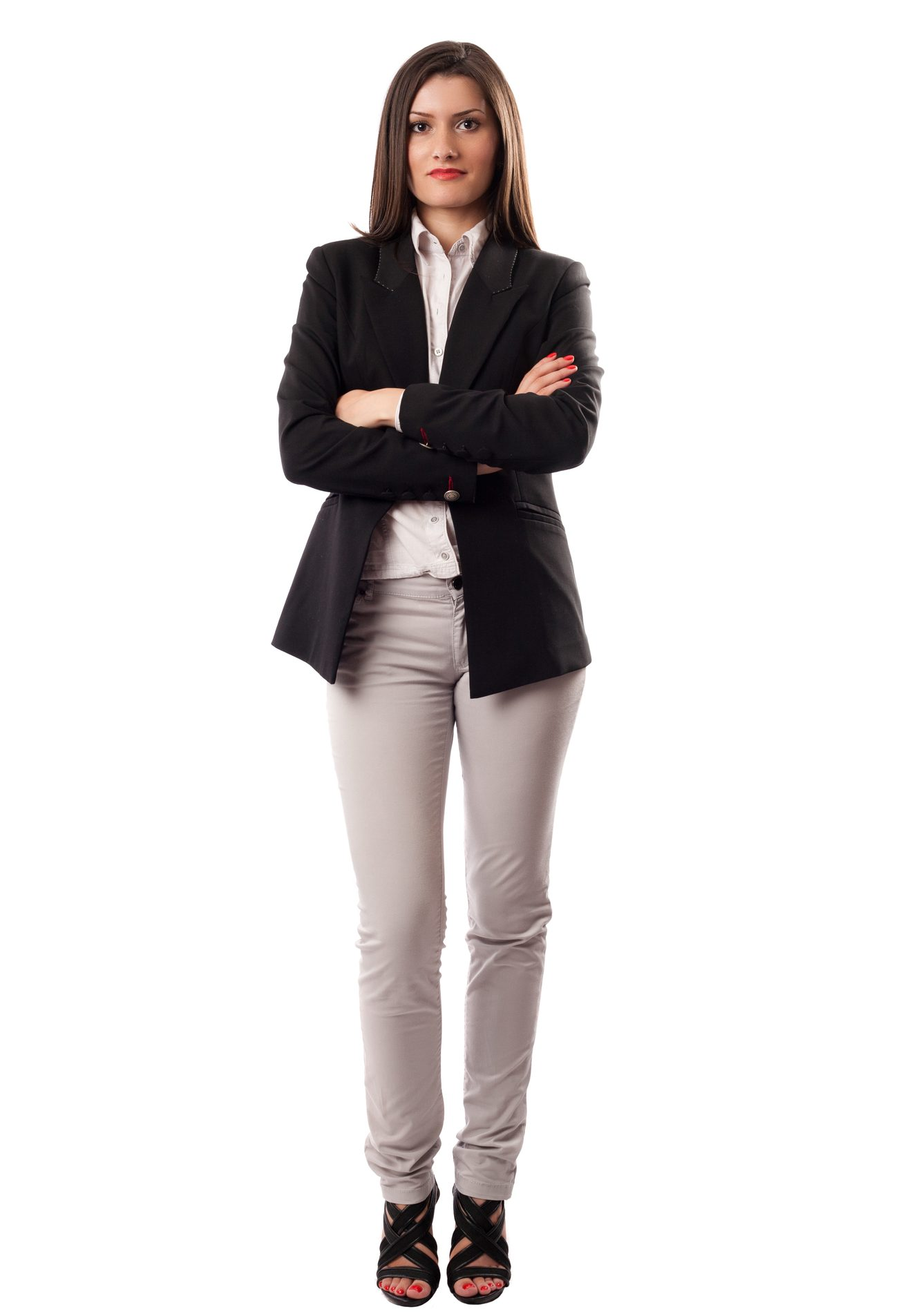 Confident business woman standing wearing casual clothes, isolated on white background